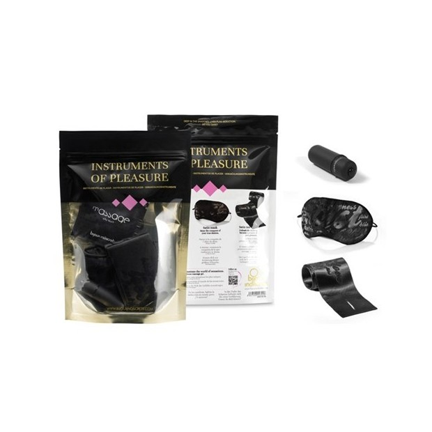 Los placeres de Lola handcuffs, eye mask and small vibrator kit from Instruments of Pleasure by Bijoux Indiscret